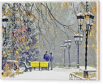 Snowing Wood Print by Vladimir Kholostykh