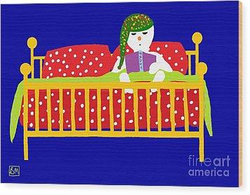 Wood Print featuring the digital art Snowman Bedtime by Barbara Moignard
