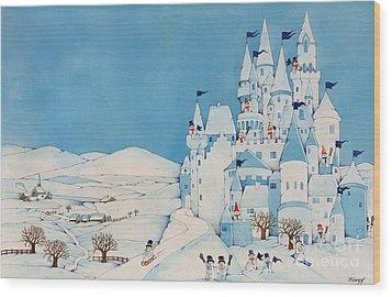 Snowman Castle Wood Print by Christian Kaempf