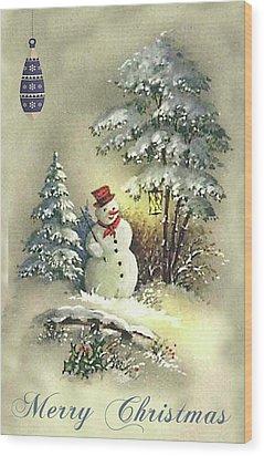 Wood Print featuring the digital art Snowman Christmas Card by Greg Sharpe