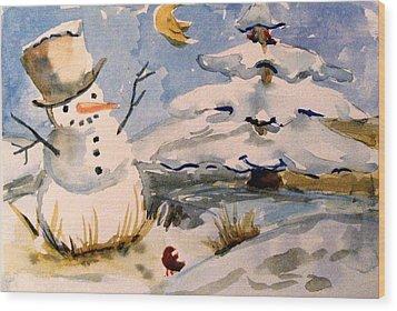 Snowman Hug Wood Print by Mindy Newman