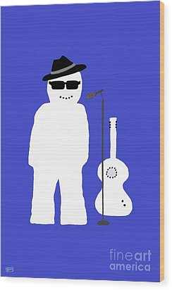 Wood Print featuring the digital art Snowman Musician by Barbara Moignard