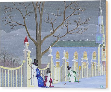 Snowmen In Vermont Wood Print by Thomas Griffin