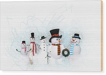 Wood Print featuring the painting Snowmen by Methune Hively