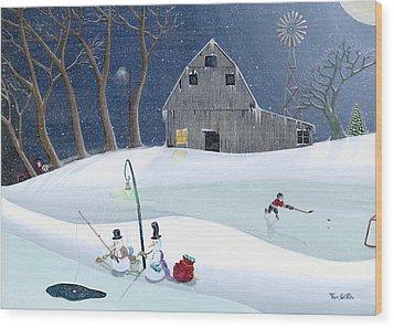 Snowmen On Hockey Pond Wood Print by Thomas Griffin