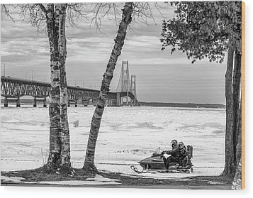Wood Print featuring the photograph Snowmobile Michigan Black And White  by John McGraw