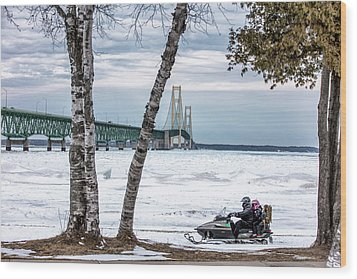 Wood Print featuring the photograph Snowmobile Michigan  by John McGraw