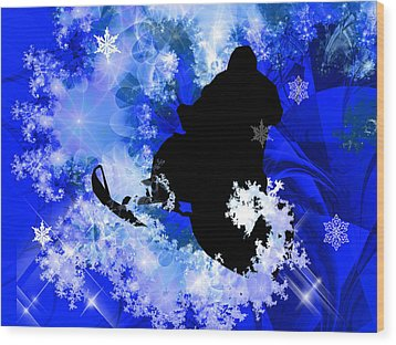 Snowmobiling In The Avalanche  Wood Print by Elaine Plesser