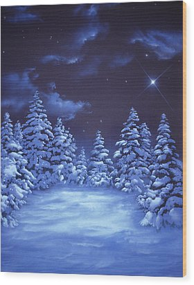 Snowstars Wood Print by William Rogers