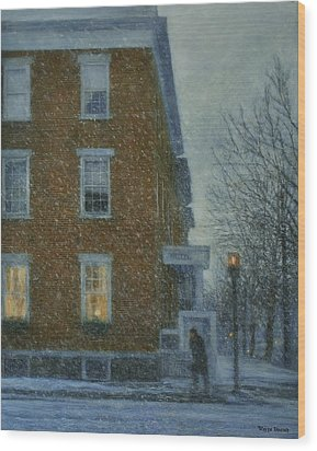 Snowstorm On Albany Street Wood Print