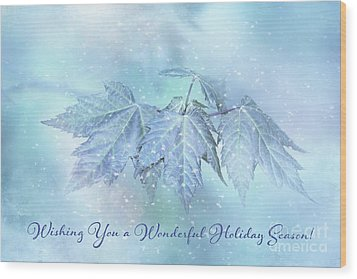 Snowy Baby Leaves Winter Holiday Card Wood Print