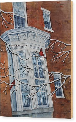 Snowy Bay Wood Print by Patsy Sharpe