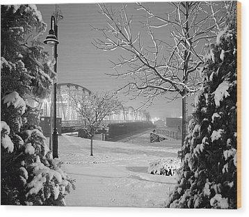 Snowy Bridge With Trees Wood Print by Jeremy Evensen