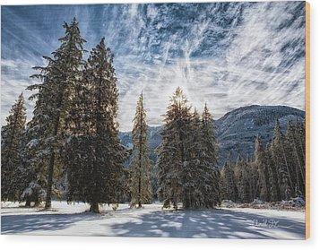 Snowy Clouds Wood Print