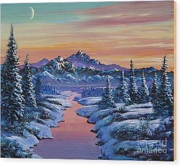 Snowy Creek Wood Print by David Lloyd Glover