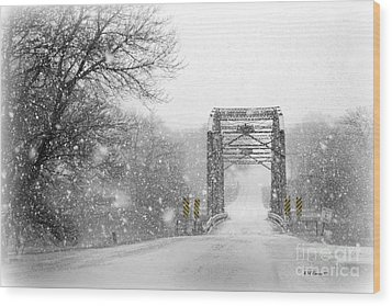 Snowy Day And One Lane Bridge Wood Print by Kathy M Krause