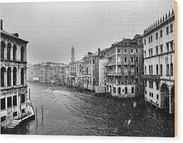 Snowy Day In Venice Wood Print by Yuri Santin