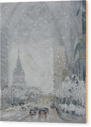 Snowy Day - Market Street Saint Louis Wood Print