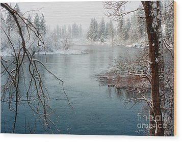 Snowy Day On The River Wood Print by Beve Brown-Clark Photography