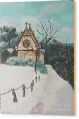 Wood Print featuring the painting Snowy Daze by Denise Tomasura