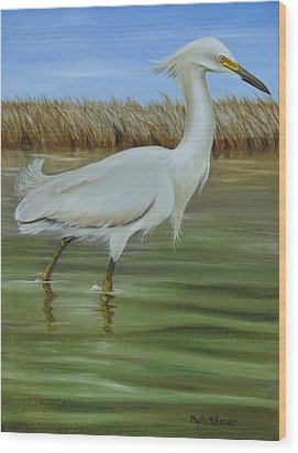 Wood Print featuring the painting Snowy Egret 1 by Phyllis Beiser