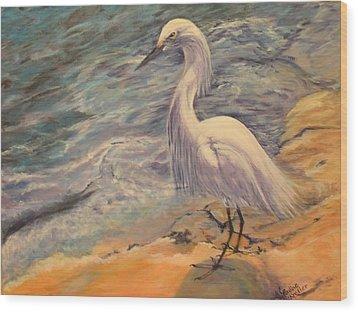 Wood Print featuring the painting Snowy Egret by Pauline  Kretler