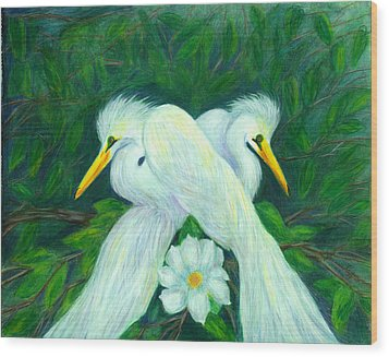 Wood Print featuring the painting Snowy Egrets by Jeanne Kay Juhos
