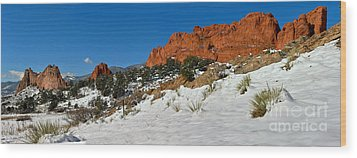 Wood Print featuring the photograph Snowy Fields At Garden Of The Gods by Adam Jewell