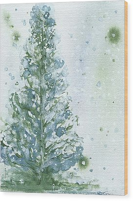 Wood Print featuring the painting Snowy Fir Tree by Dawn Derman