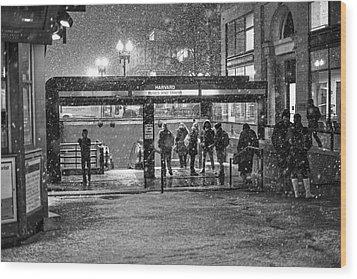 Snowy Harvard Square Night- Harvard T Station Black And White Wood Print