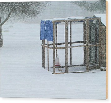 Wood Print featuring the photograph Snowy Hen House by Barbara Giordano