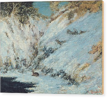 Snowy Landscape Wood Print by Gustave Courbet