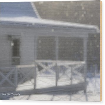 Snowy Maine Farmhouse Wood Print by Lyana Votey