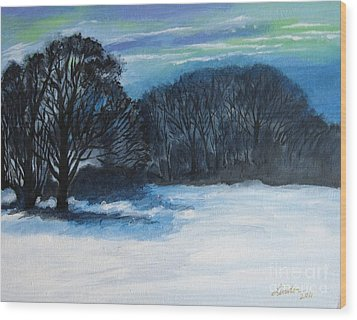 Snowy Moonlight Night Wood Print