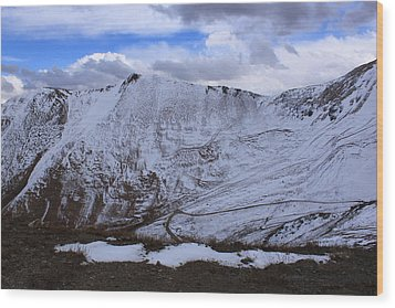 Snowy Mountain Wood Print by Angie Wingerd