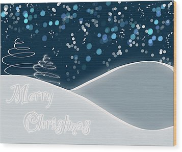 Snowy Night Christmas Card Wood Print
