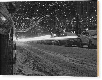 Snowy Night Light Trails Wood Print