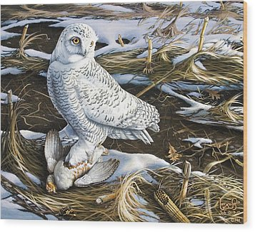 Snowy Owl And Hungarian Partridge Wood Print by Larry Seiler