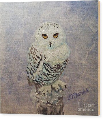 Snowy Owl Wood Print by Janet McDonald