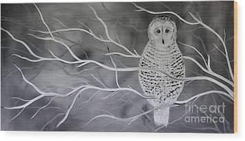 Snowy Owl Wood Print by Preethi Mathialagan