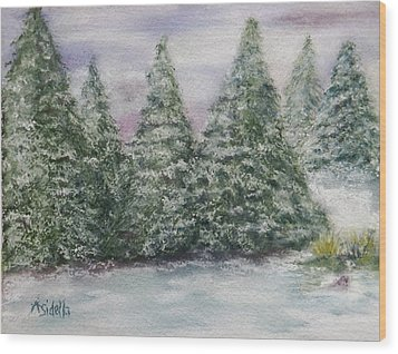 Snowy Pines Wood Print by Annamarie Sidella-Felts