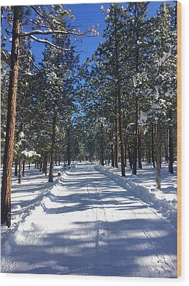 Snowy Road Wood Print