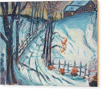 Snowy Road Wood Print by Carolyn Donnell