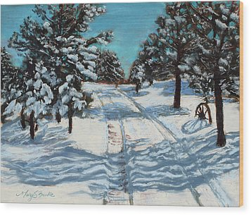 Snowy Road Home Wood Print