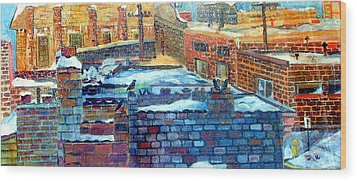 Snowy Roof Tops Wood Print by Mindy Newman