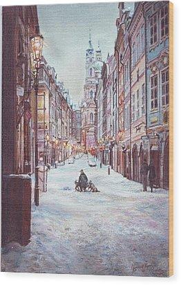 snowy Sunday night in Prague Wood Print by Gordana Dokic Segedin