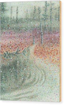 Snowy Swamp Wood Print by Anne Havard