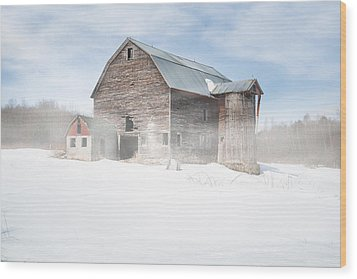 Wood Print featuring the photograph Snowy Winter Barn by Gary Heller