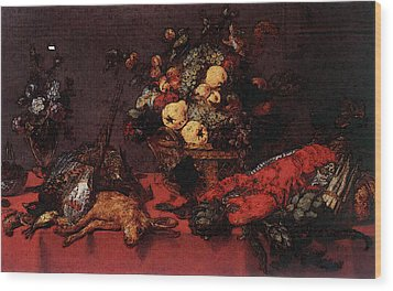Snyders Frans Still Life With A Basket Of Fruit Wood Print by Frans Snyders