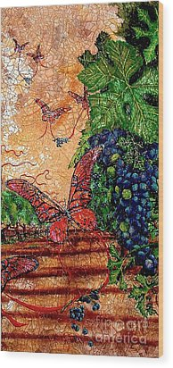 So Long And Thanks For All The Grapes Wood Print by Ron Carter